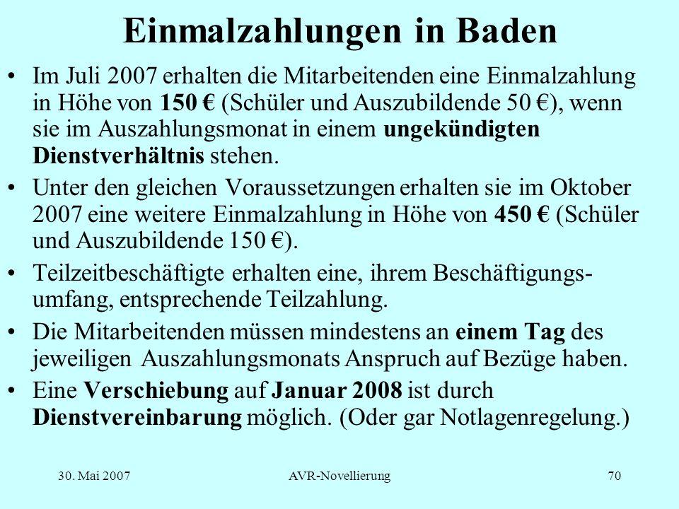 Einmalzahlungen in Baden