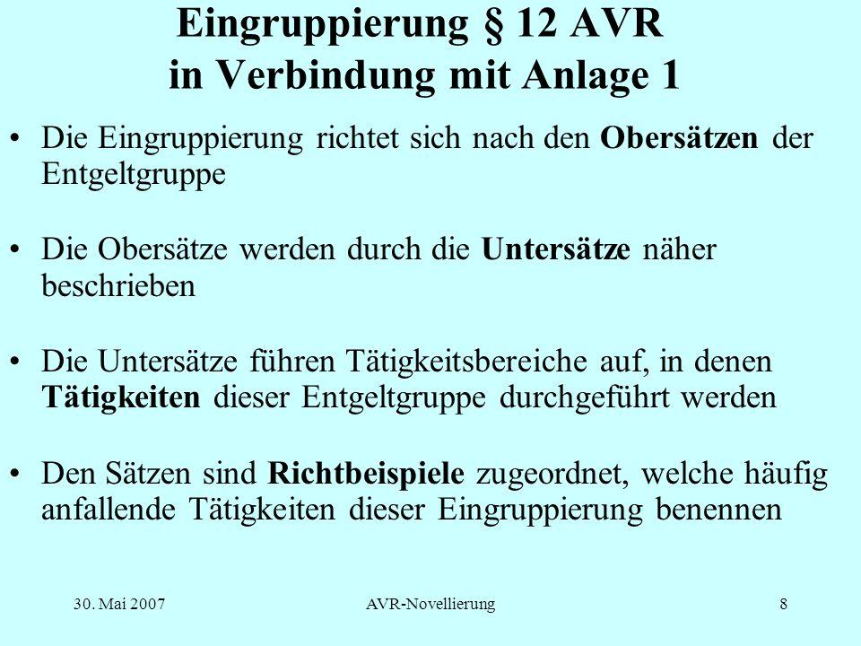 Eingruppierung § 12 AVR in Verbindung mit Anlage 1