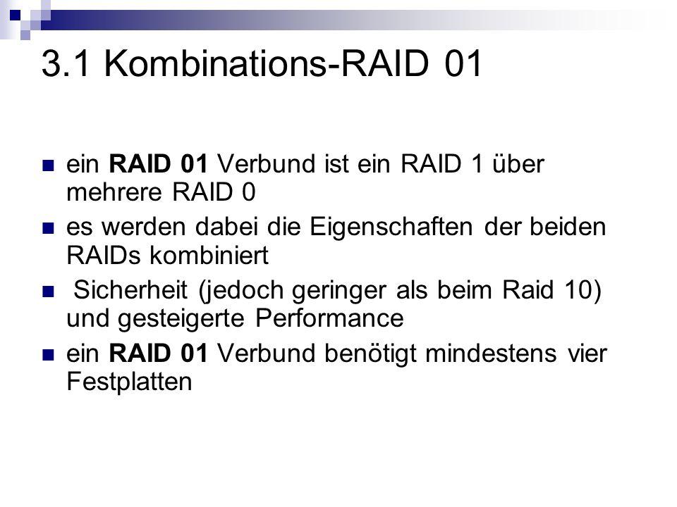 3.1 Kombinations-RAID 01 ein RAID 01 Verbund ist ein RAID 1 über mehrere RAID 0. es werden dabei die Eigenschaften der beiden RAIDs kombiniert.