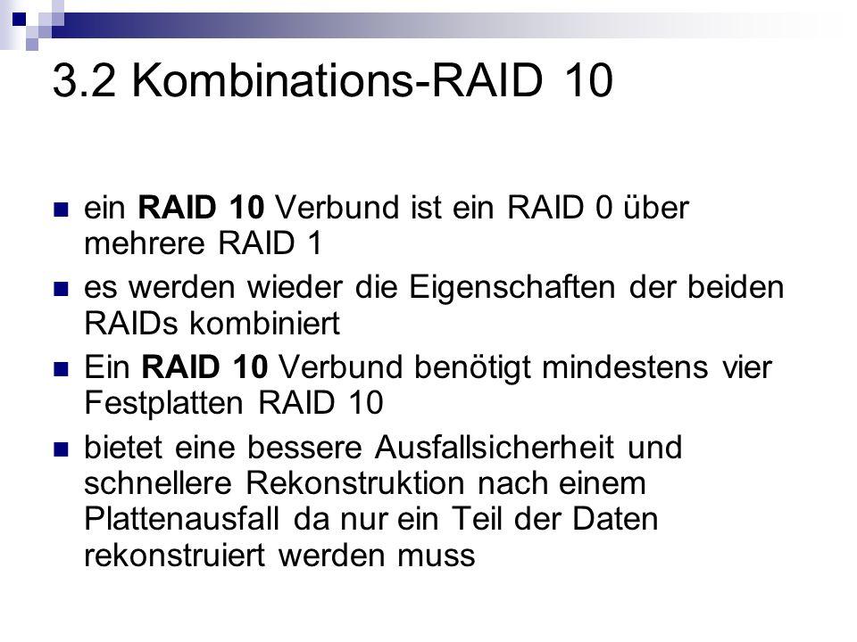 3.2 Kombinations-RAID 10 ein RAID 10 Verbund ist ein RAID 0 über mehrere RAID 1. es werden wieder die Eigenschaften der beiden RAIDs kombiniert.
