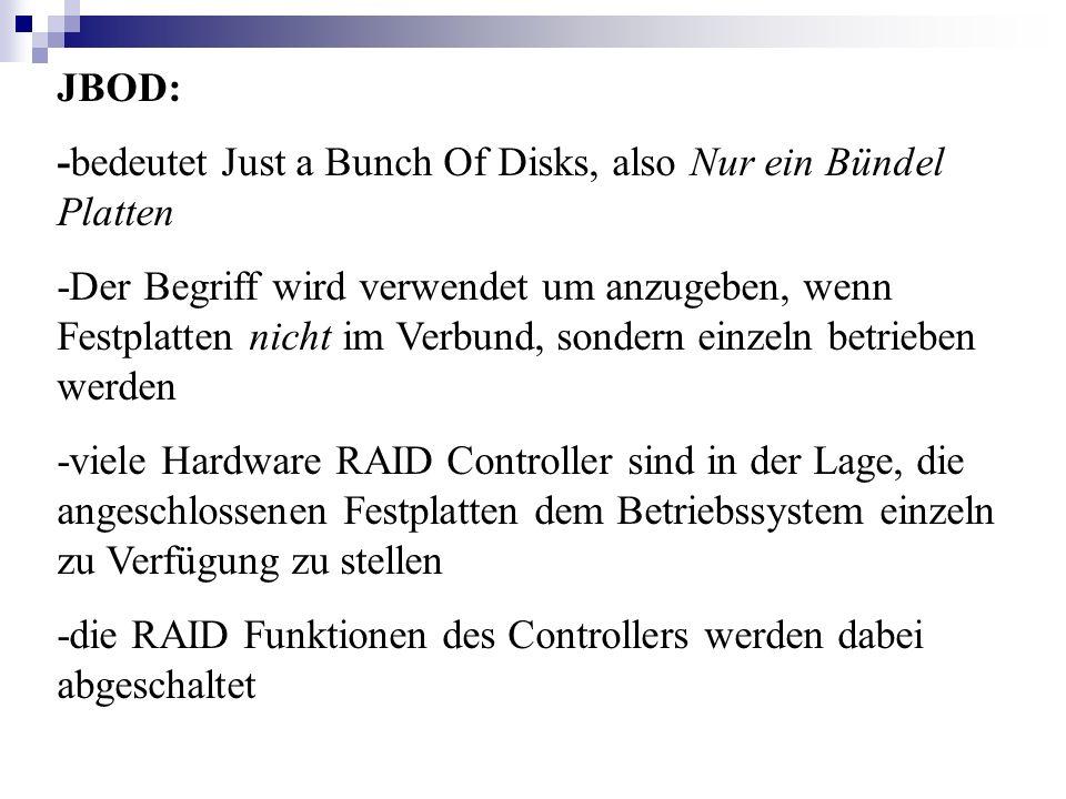 JBOD: -bedeutet Just a Bunch Of Disks, also Nur ein Bündel Platten.