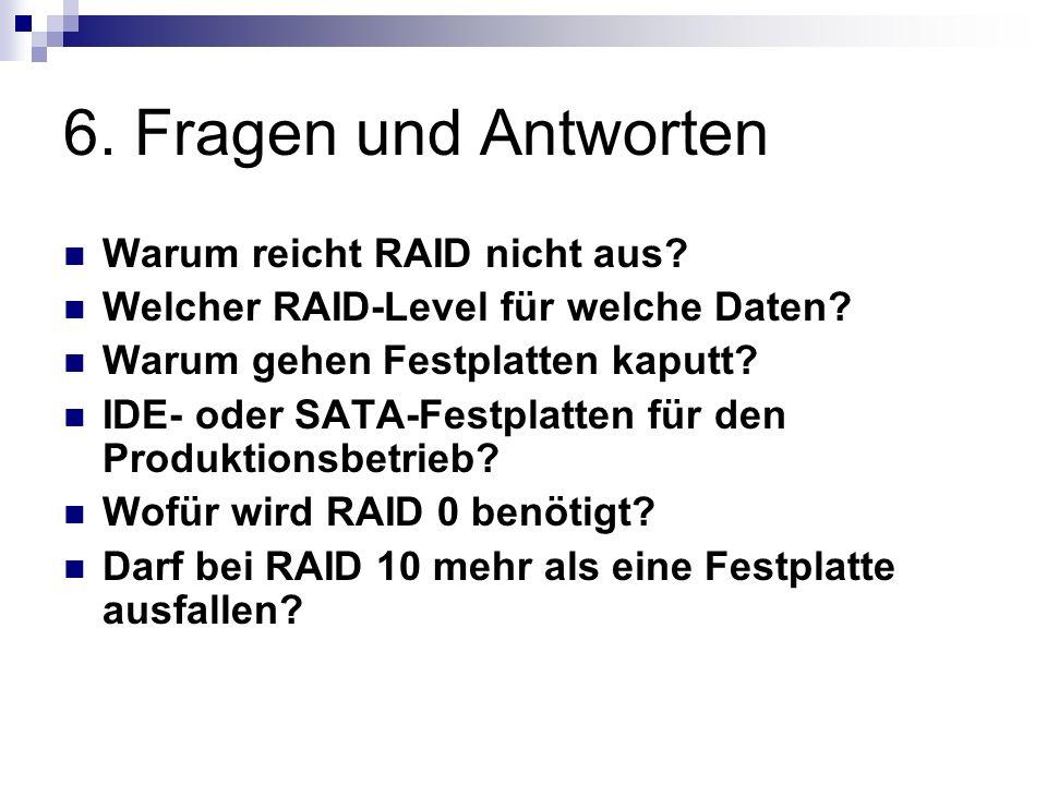 6. Fragen und Antworten Warum reicht RAID nicht aus