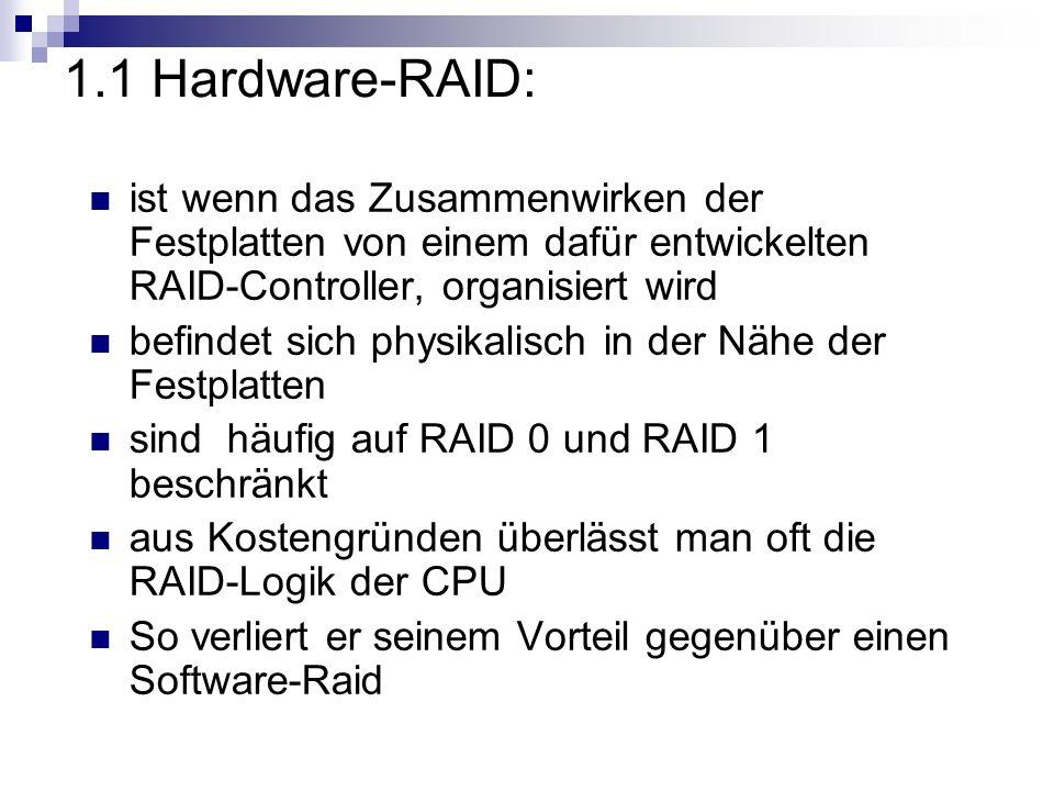 1.1 Hardware-RAID: ist wenn das Zusammenwirken der Festplatten von einem dafür entwickelten RAID-Controller, organisiert wird.