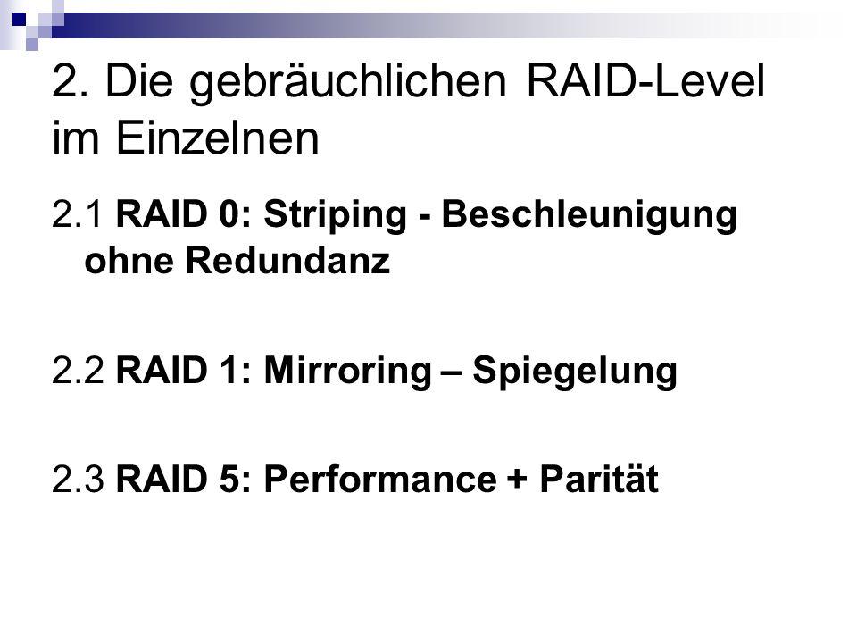2. Die gebräuchlichen RAID-Level im Einzelnen