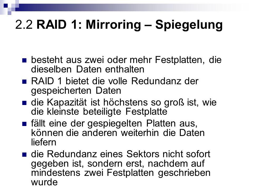 2.2 RAID 1: Mirroring – Spiegelung