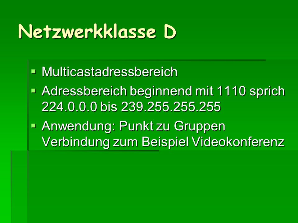 Netzwerkklasse D Multicastadressbereich