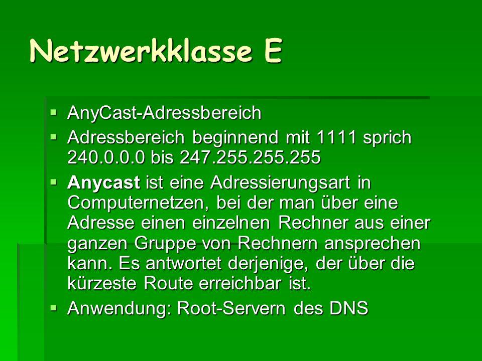 Netzwerkklasse E AnyCast-Adressbereich