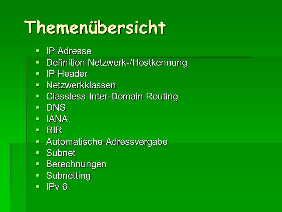 Themenübersicht IP Adresse Definition Netzwerk-/Hostkennung IP Header