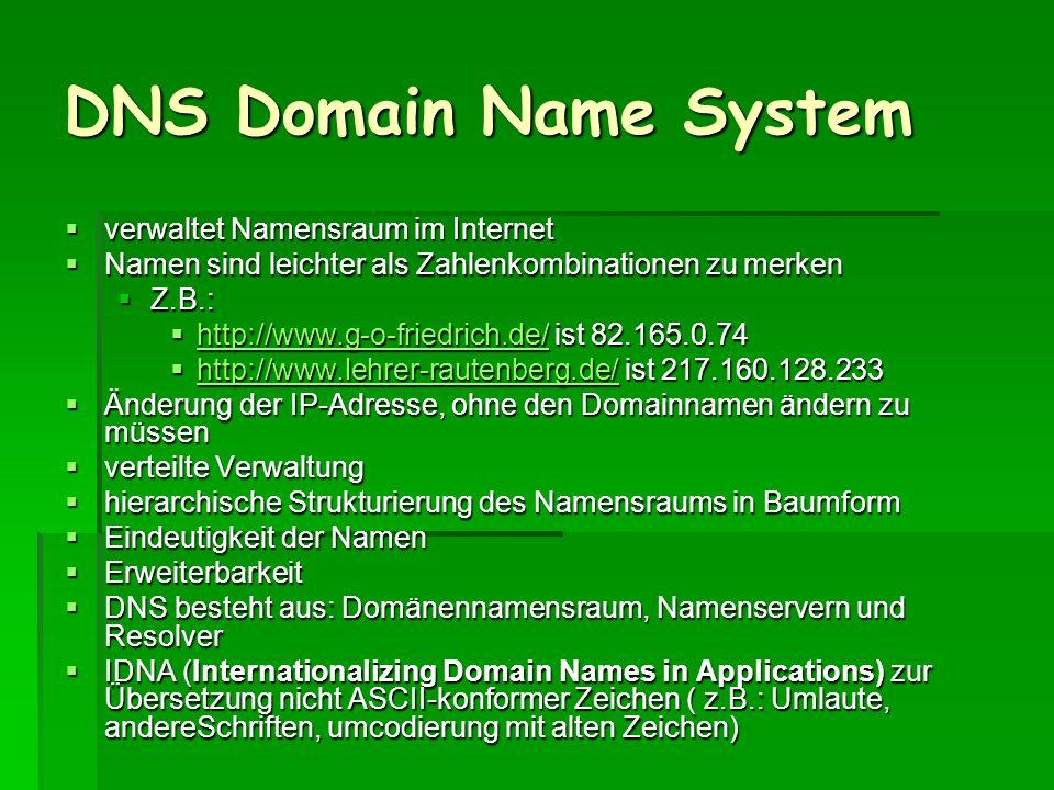 DNS Domain Name System verwaltet Namensraum im Internet