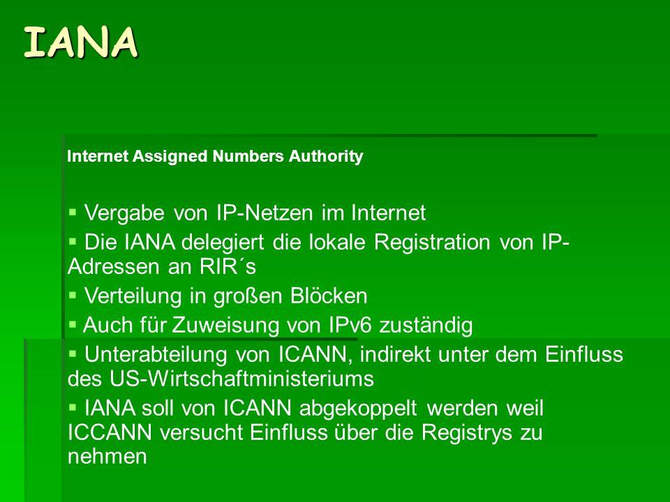 IANA Vergabe von IP-Netzen im Internet