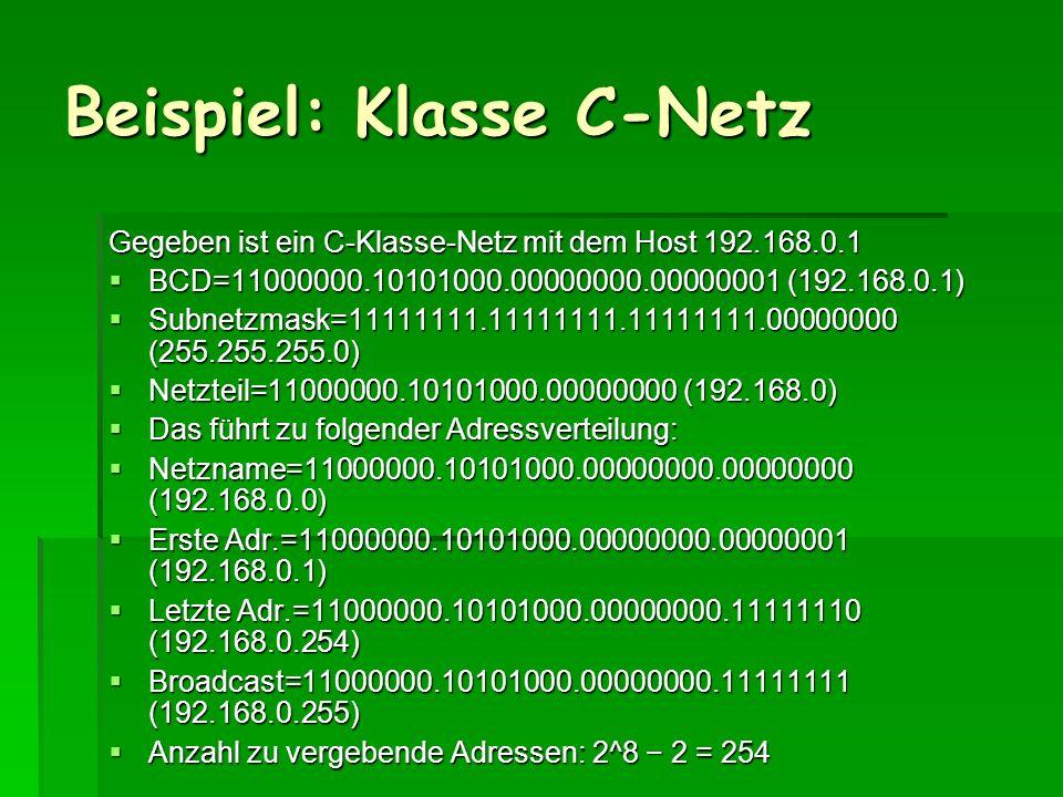 Beispiel: Klasse C-Netz