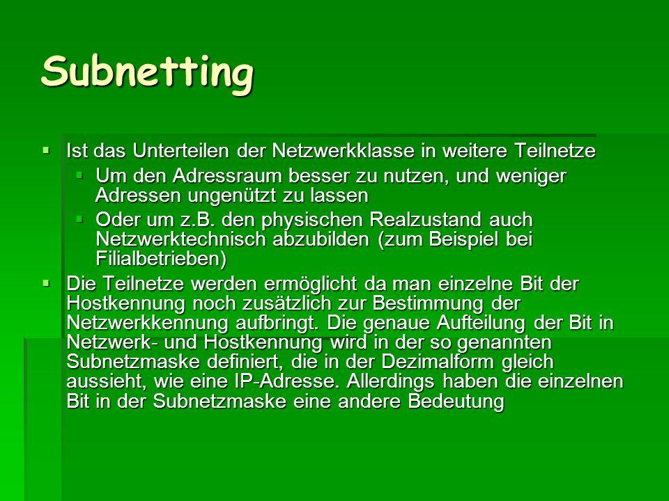Subnetting Ist das Unterteilen der Netzwerkklasse in weitere Teilnetze