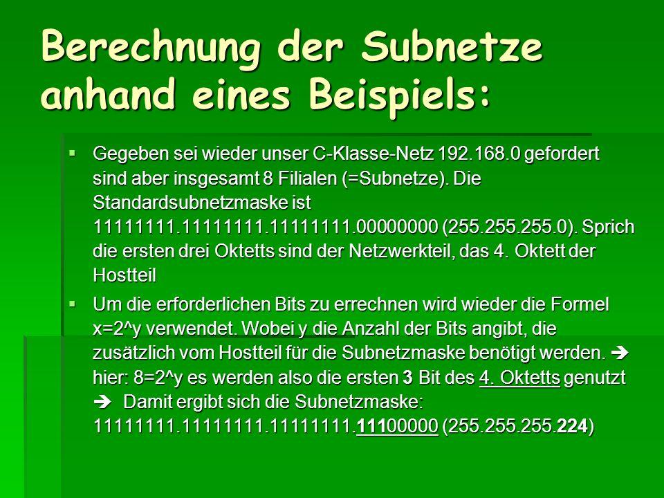 Berechnung der Subnetze anhand eines Beispiels: