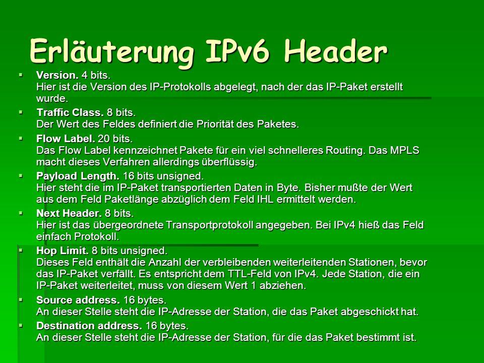 Erläuterung IPv6 Header