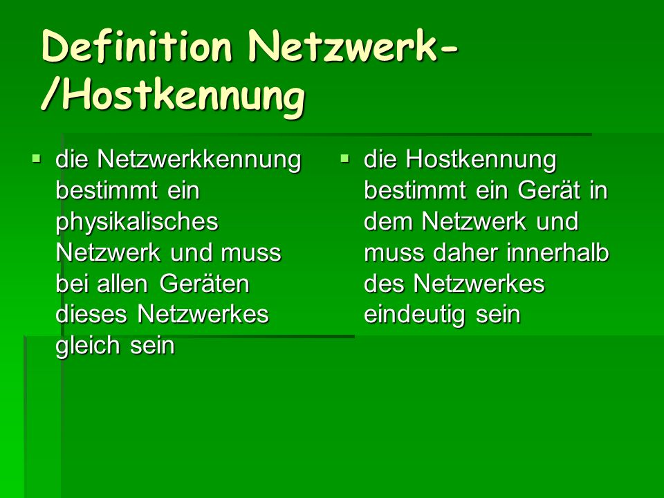 Definition Netzwerk-/Hostkennung
