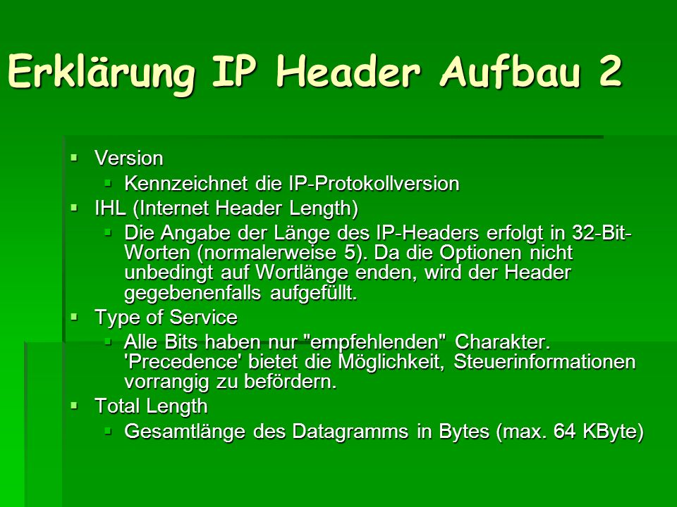 Erklärung IP Header Aufbau 2