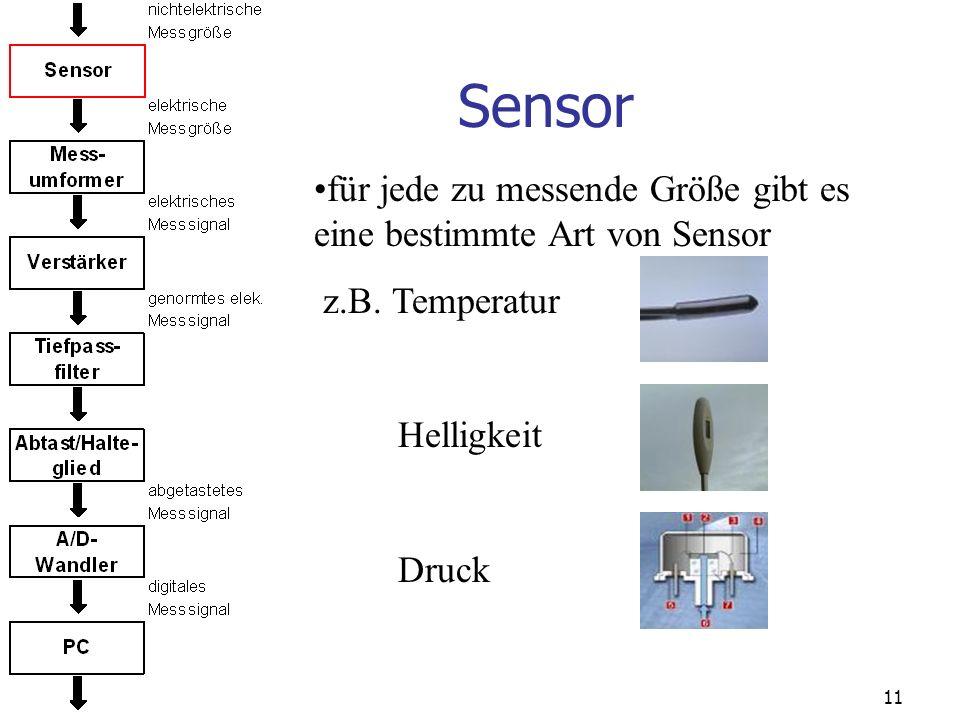 Sensor für jede zu messende Größe gibt es eine bestimmte Art von Sensor. z.B. Temperatur. Helligkeit.