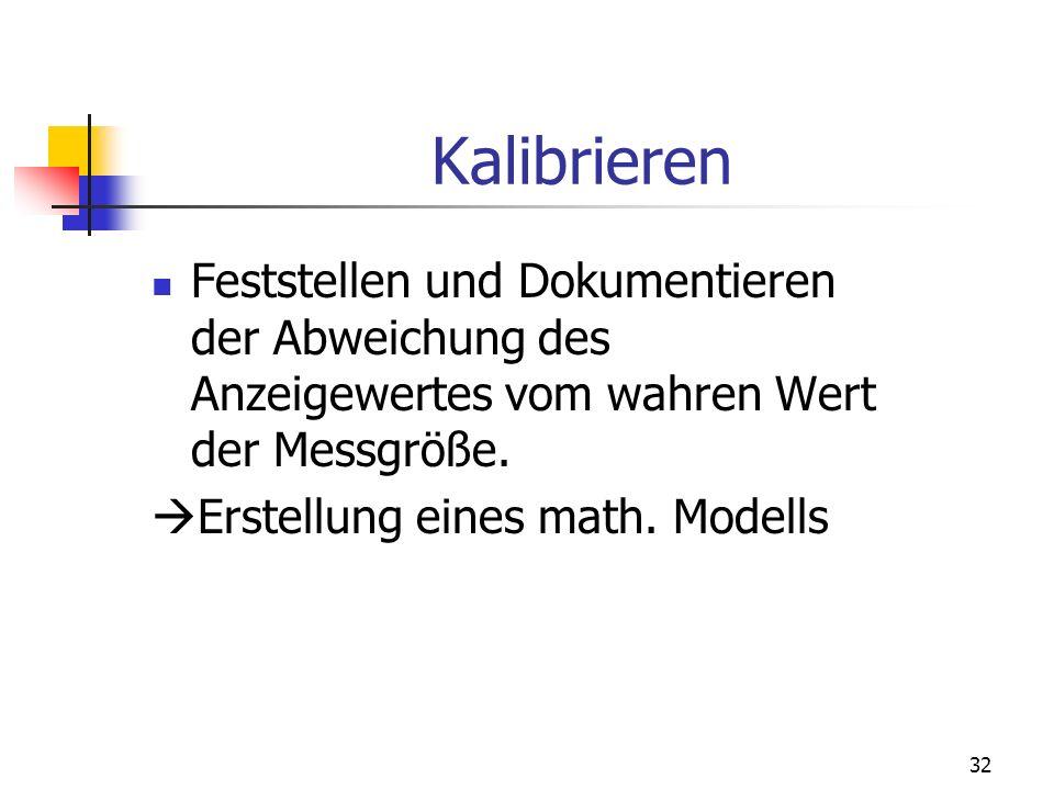 Kalibrieren Feststellen und Dokumentieren der Abweichung des Anzeigewertes vom wahren Wert der Messgröße.