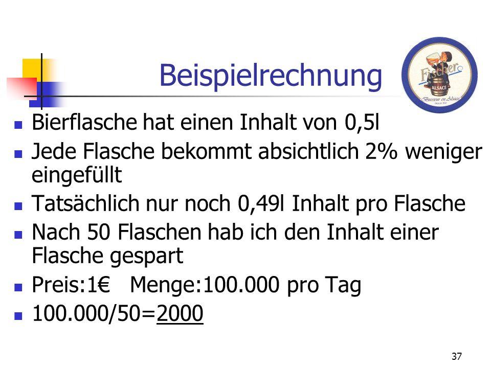 Beispielrechnung Bierflasche hat einen Inhalt von 0,5l