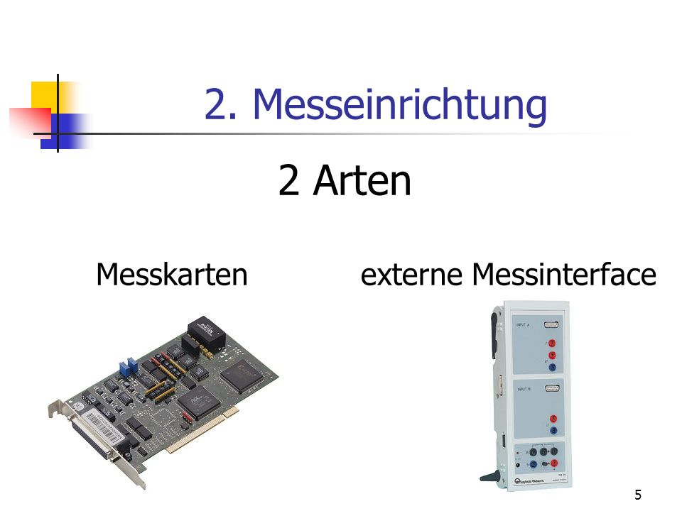 2. Messeinrichtung 2 Arten Messkarten externe Messinterface