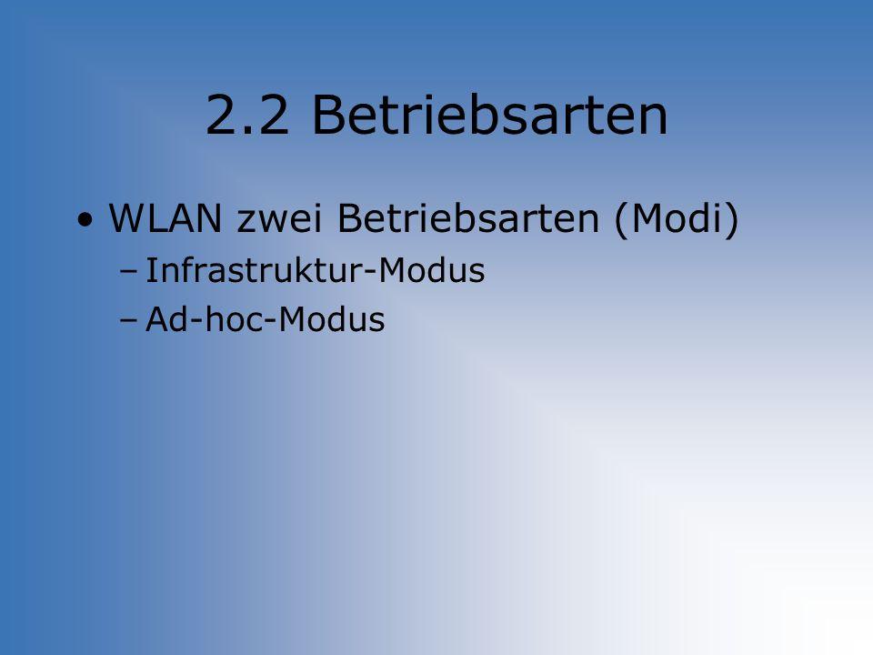 2.2 Betriebsarten WLAN zwei Betriebsarten (Modi) Infrastruktur-Modus