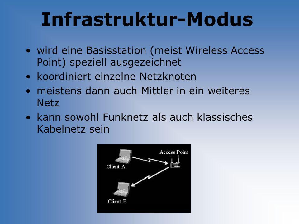 Infrastruktur-Modus wird eine Basisstation (meist Wireless Access Point) speziell ausgezeichnet. koordiniert einzelne Netzknoten.