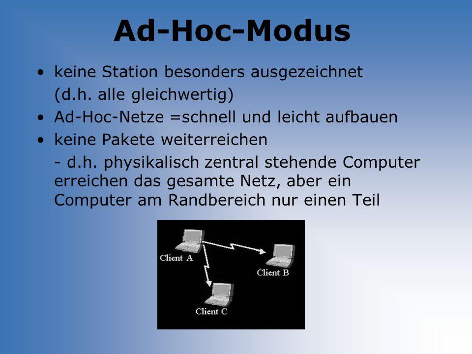 Ad-Hoc-Modus keine Station besonders ausgezeichnet