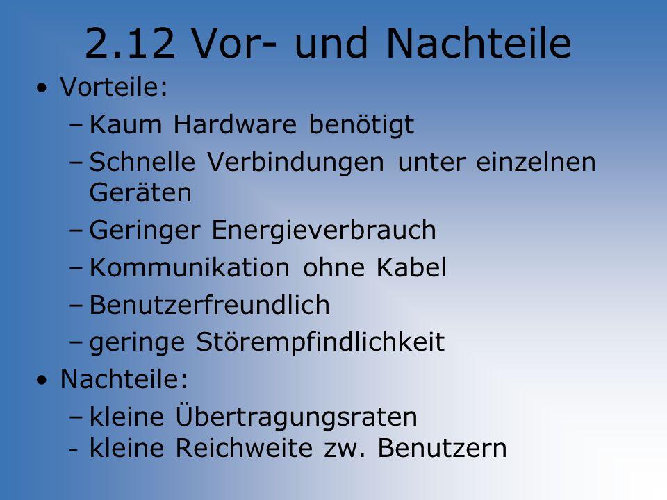 2.12 Vor- und Nachteile Vorteile: Kaum Hardware benötigt