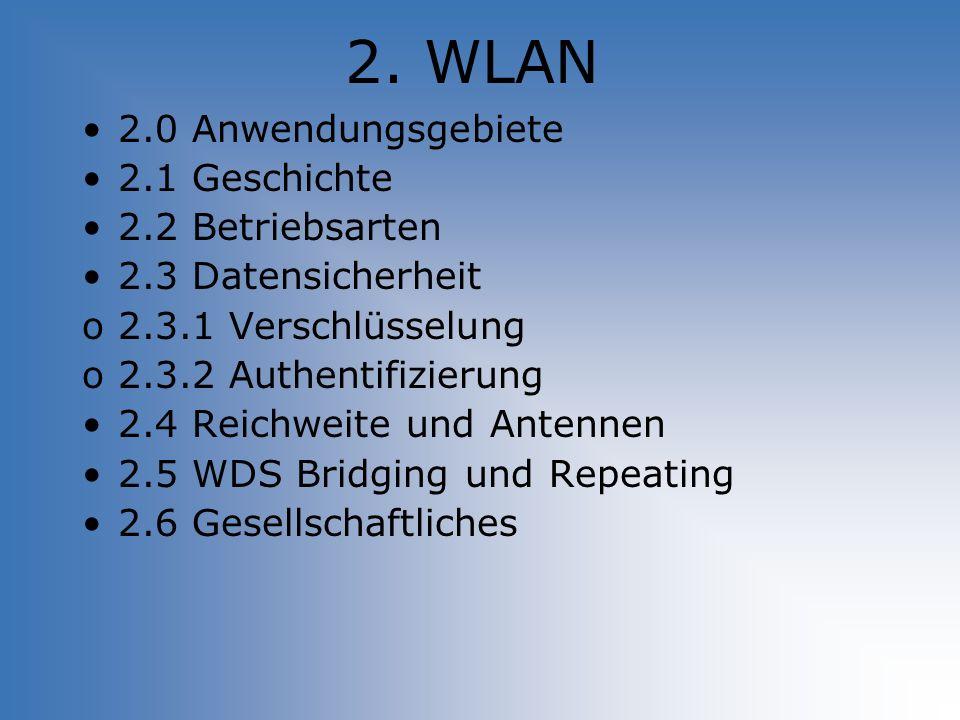 2. WLAN 2.0 Anwendungsgebiete 2.1 Geschichte 2.2 Betriebsarten