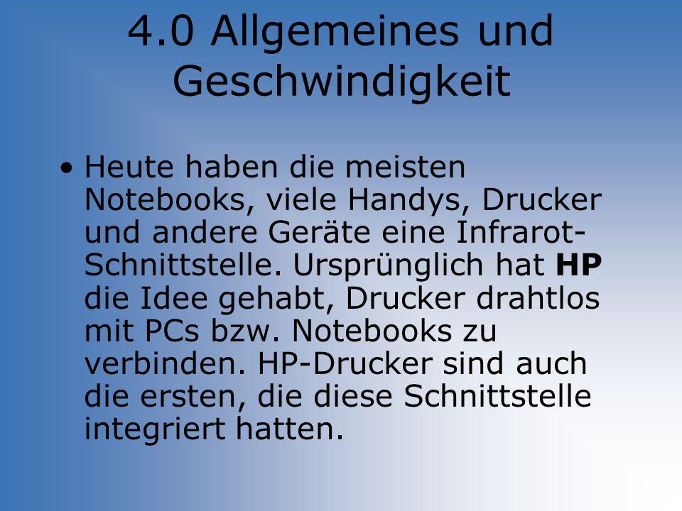 4.0 Allgemeines und Geschwindigkeit