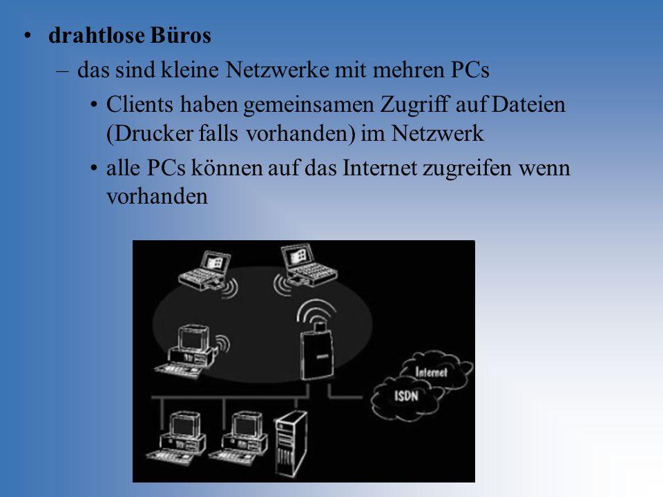 drahtlose Büros das sind kleine Netzwerke mit mehren PCs. Clients haben gemeinsamen Zugriff auf Dateien (Drucker falls vorhanden) im Netzwerk.