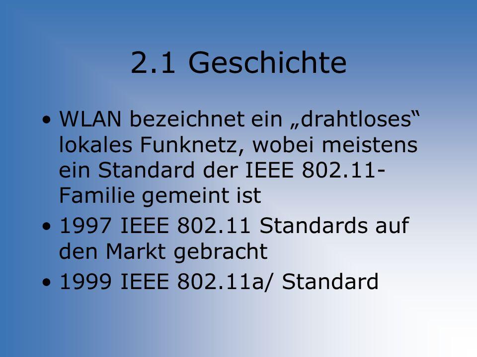 """2.1 Geschichte WLAN bezeichnet ein """"drahtloses lokales Funknetz, wobei meistens ein Standard der IEEE 802.11-Familie gemeint ist."""