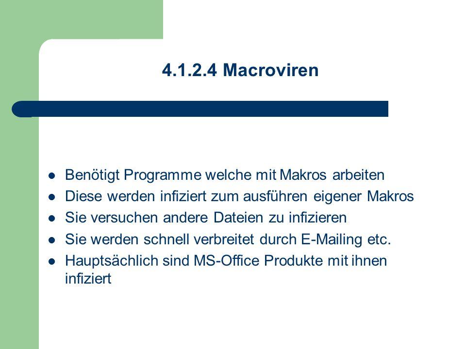 4.1.2.4 Macroviren Benötigt Programme welche mit Makros arbeiten