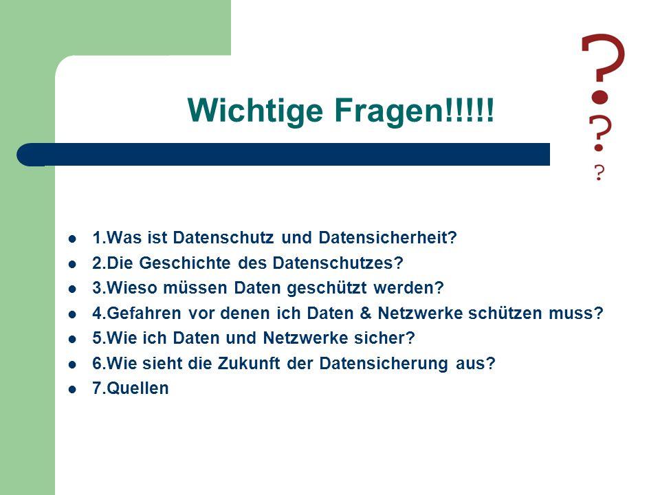 Wichtige Fragen!!!!! 1.Was ist Datenschutz und Datensicherheit
