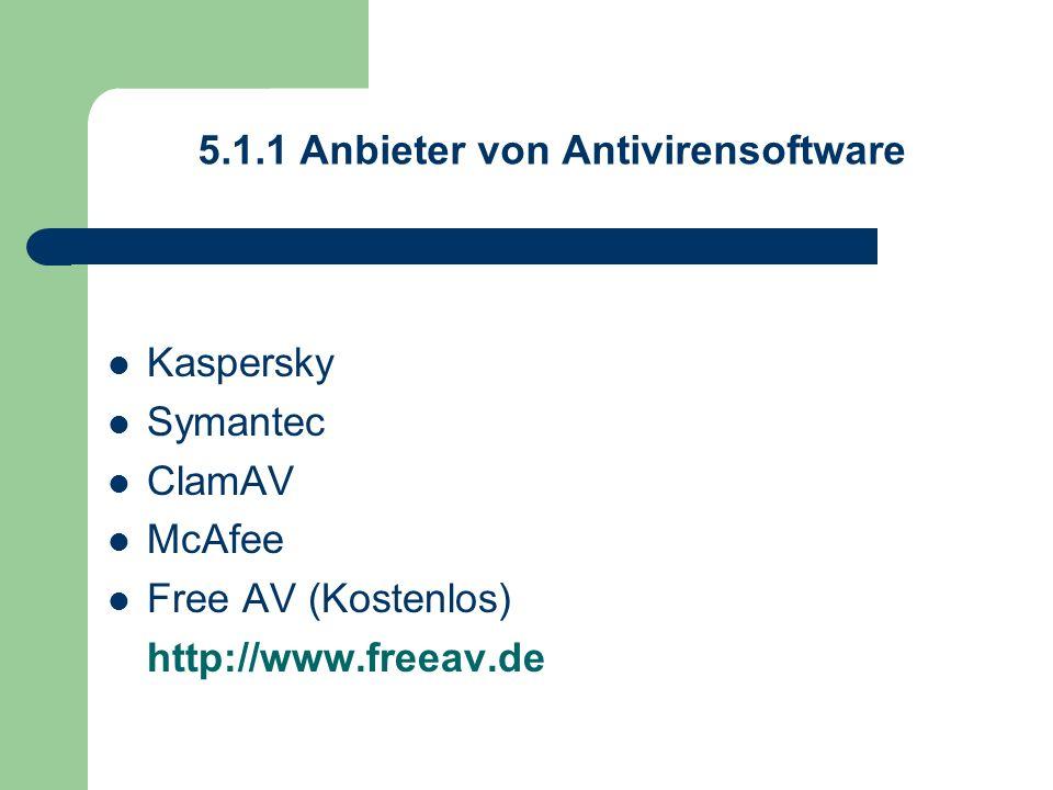 5.1.1 Anbieter von Antivirensoftware