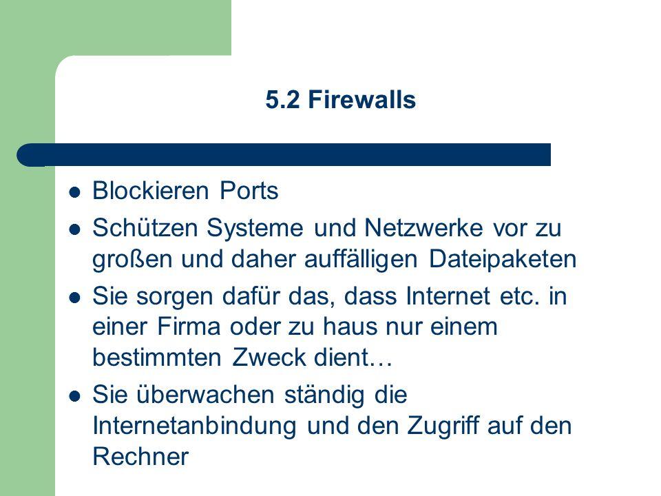 5.2 Firewalls Blockieren Ports. Schützen Systeme und Netzwerke vor zu großen und daher auffälligen Dateipaketen.