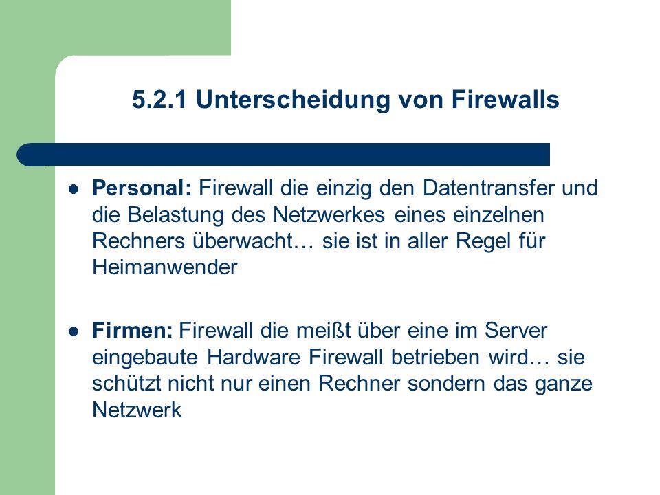5.2.1 Unterscheidung von Firewalls