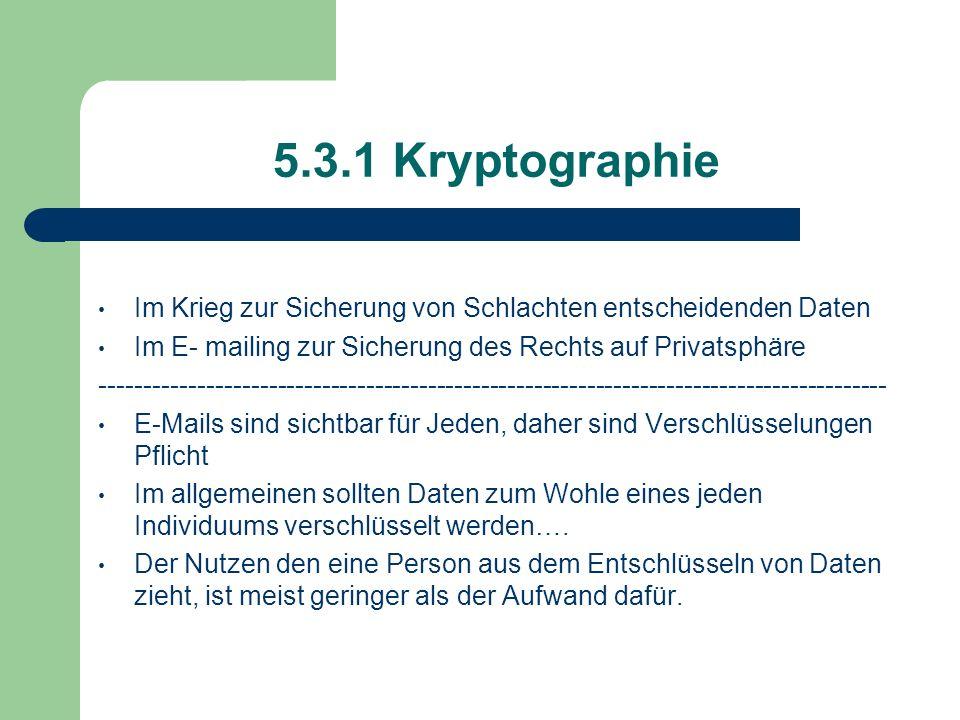 5.3.1 Kryptographie Im Krieg zur Sicherung von Schlachten entscheidenden Daten. Im E- mailing zur Sicherung des Rechts auf Privatsphäre.