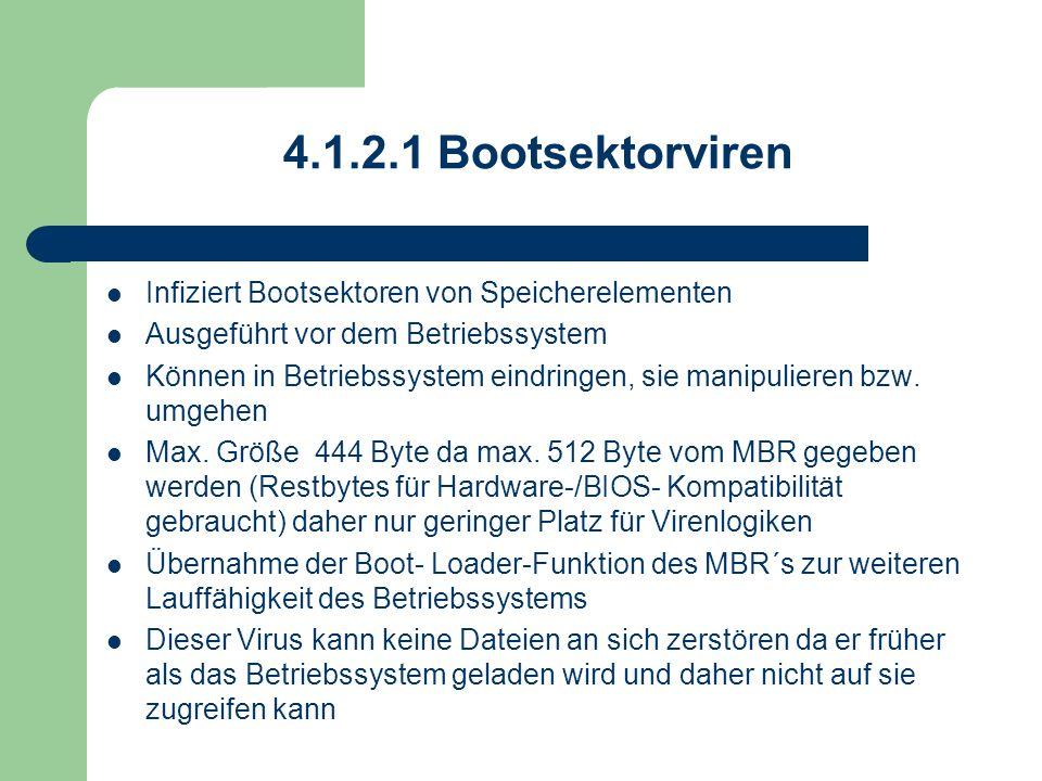4.1.2.1 Bootsektorviren Infiziert Bootsektoren von Speicherelementen