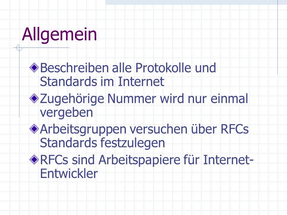 Allgemein Beschreiben alle Protokolle und Standards im Internet