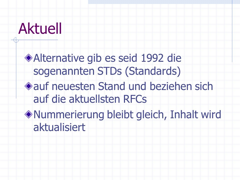 Aktuell Alternative gib es seid 1992 die sogenannten STDs (Standards)