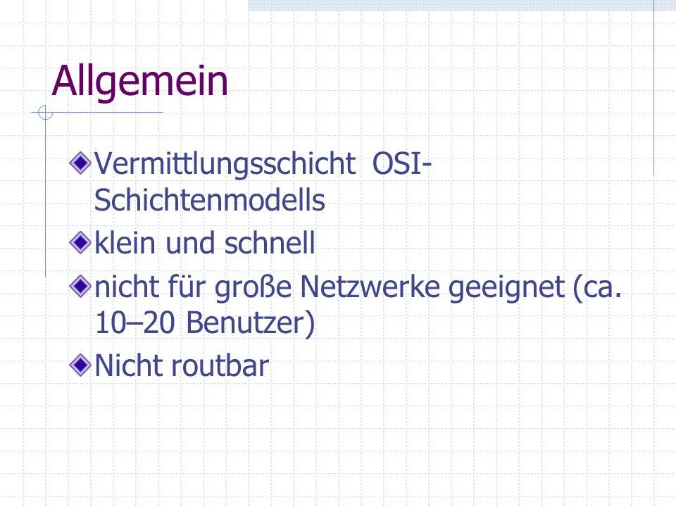 Allgemein Vermittlungsschicht OSI-Schichtenmodells klein und schnell