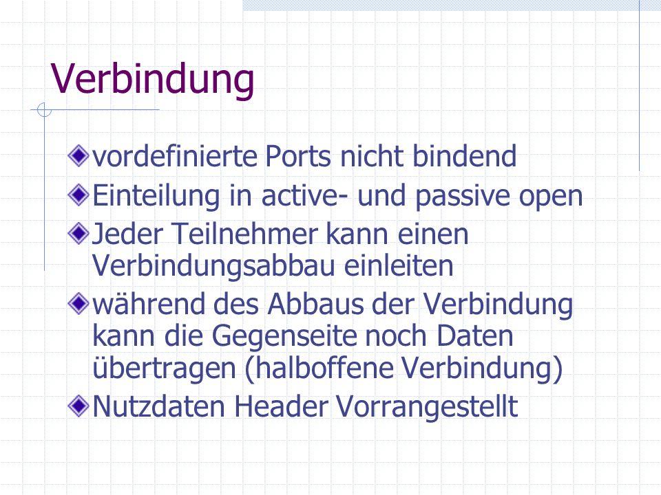 Verbindung vordefinierte Ports nicht bindend
