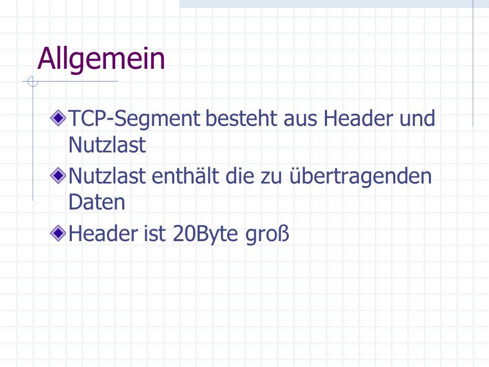Allgemein TCP-Segment besteht aus Header und Nutzlast