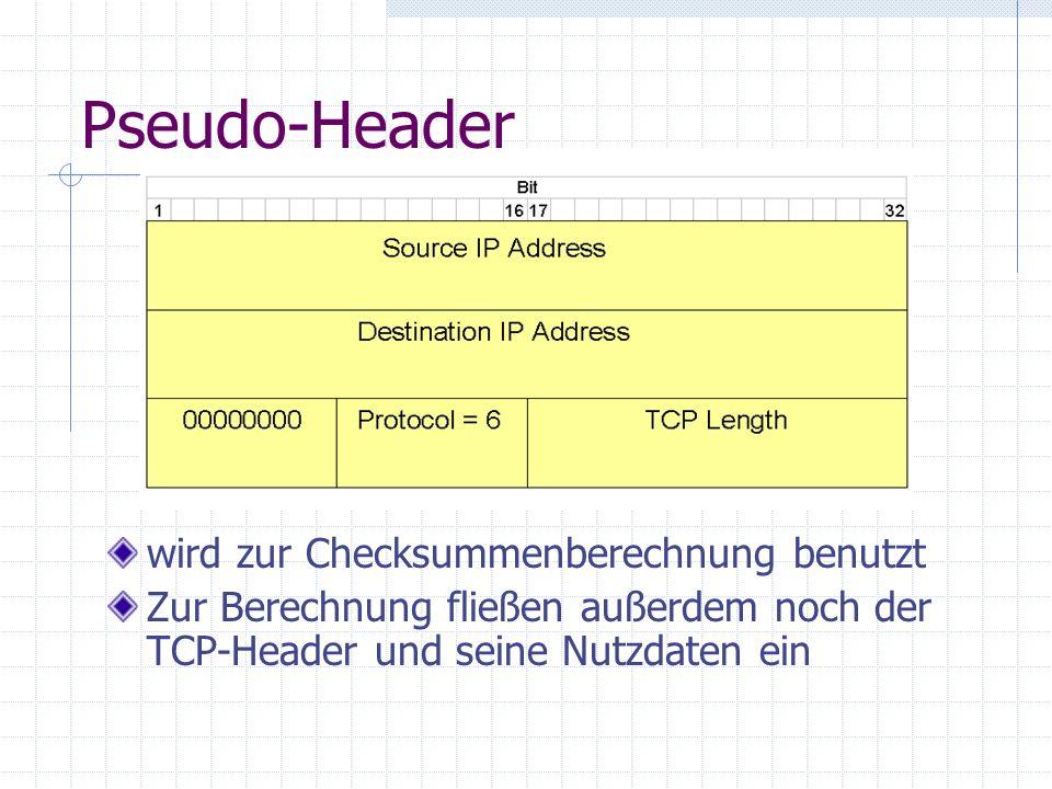 Pseudo-Header wird zur Checksummenberechnung benutzt