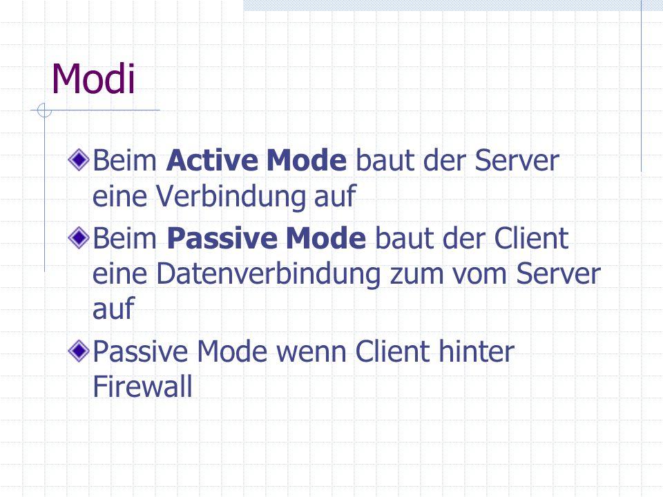 Modi Beim Active Mode baut der Server eine Verbindung auf