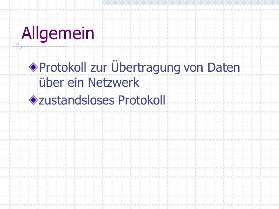 Allgemein Protokoll zur Übertragung von Daten über ein Netzwerk