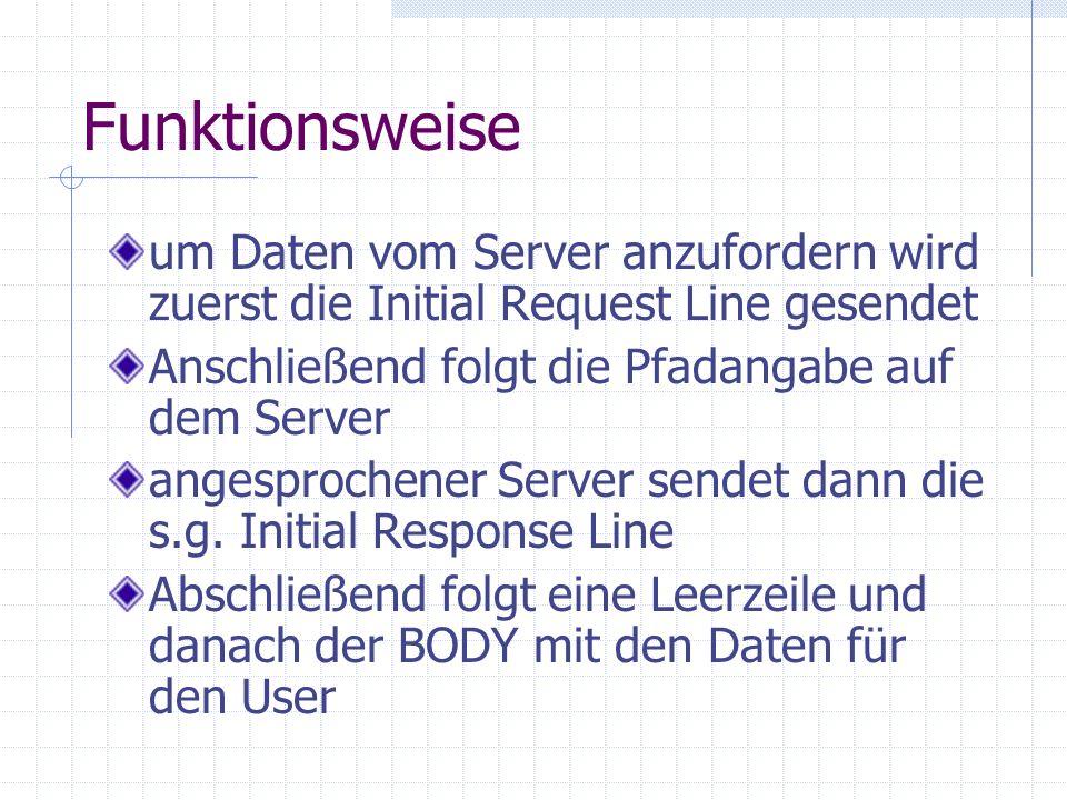 Funktionsweiseum Daten vom Server anzufordern wird zuerst die Initial Request Line gesendet. Anschließend folgt die Pfadangabe auf dem Server.