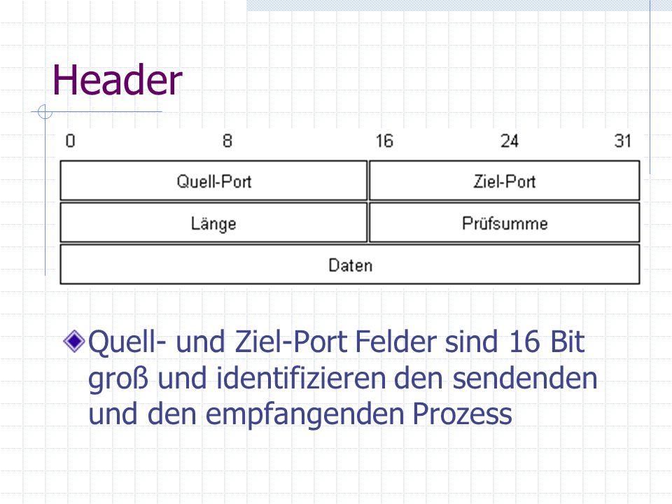 HeaderQuell- und Ziel-Port Felder sind 16 Bit groß und identifizieren den sendenden und den empfangenden Prozess.