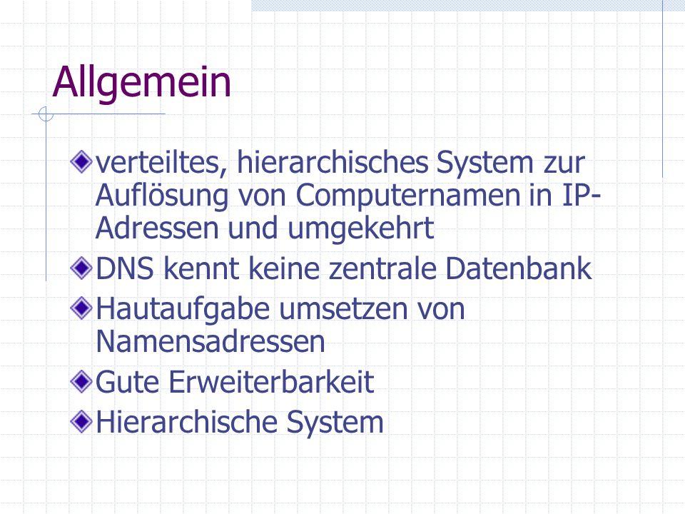Allgemein verteiltes, hierarchisches System zur Auflösung von Computernamen in IP-Adressen und umgekehrt.